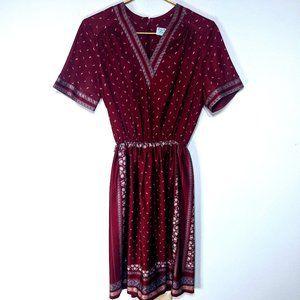 Vintage Lady Carol Petites Short Sleeve Midi Dress